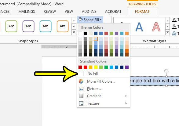 how to remove fill color from text box in word 2013