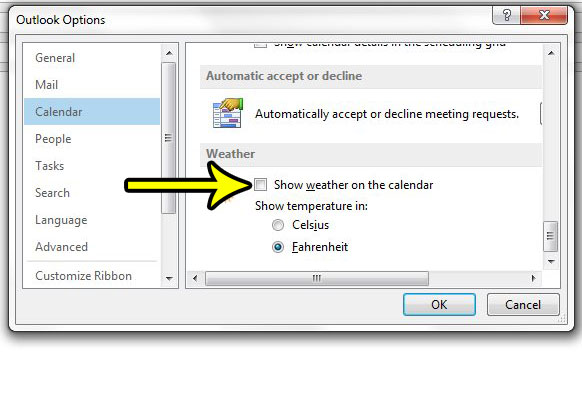 how to remove weather from the calendar in outlook 2013