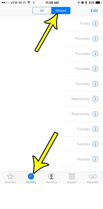 missed call list iphone 7