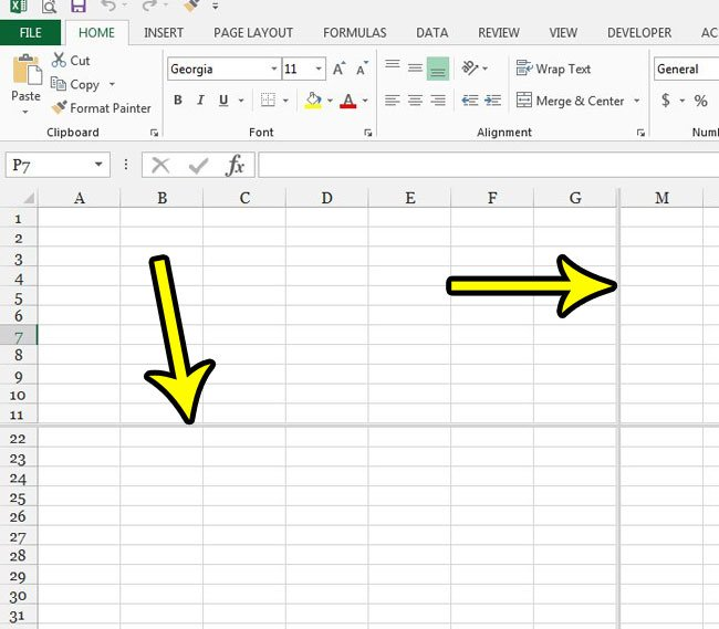 split screen example excel 2013