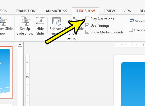 how to turn off narrations in powerpoint 2013