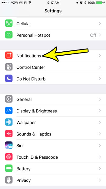 open the iphone notifications menu
