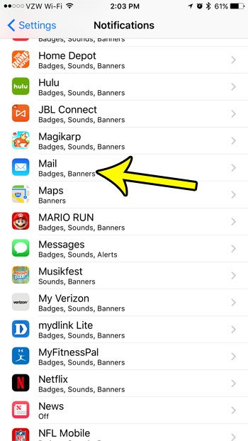 iphone mail notifications