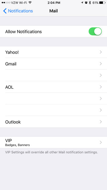 selective email notification settings iphone
