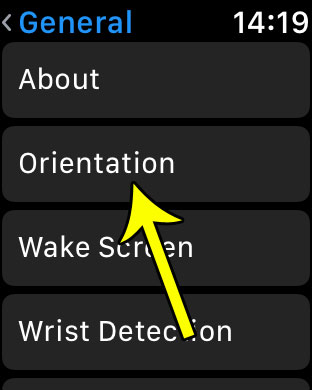 open the watch orientation menu