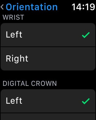 how to change apple watch orientation