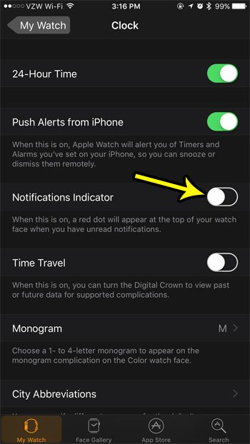 how to hide the notification indicator on the apple watch