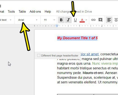 change formatting options for google docs page numbers