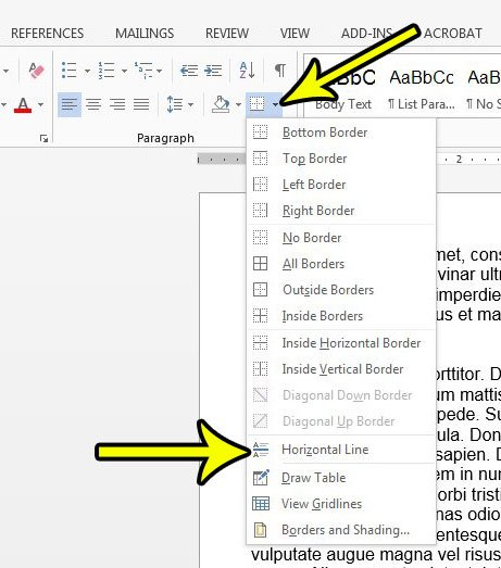 how to add a horizontal line in word 2013