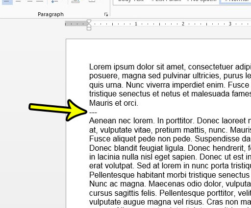 horizontal line shortcut in word 2013