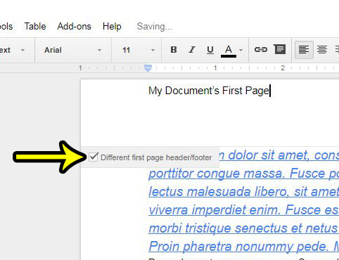 different first page header google docs