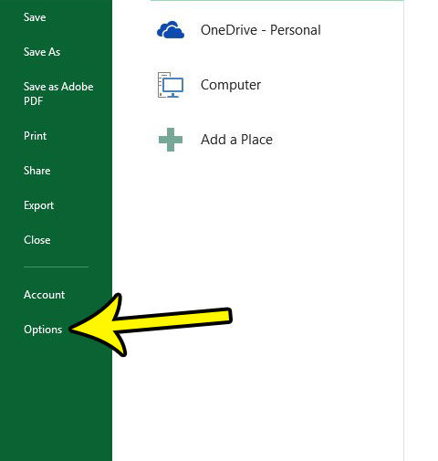 open excel options menu