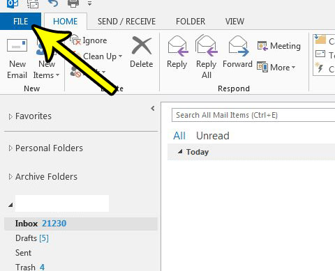 open the outlook 2013 file menu