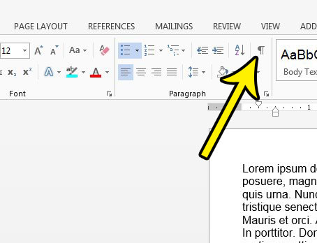 how to hide formatting marks in word 2013