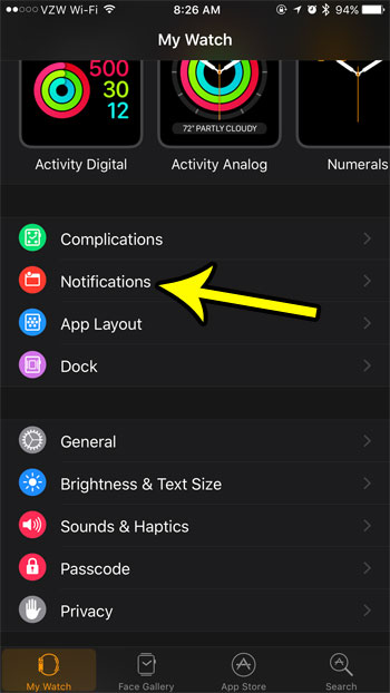 open the notifications menu on the watch app