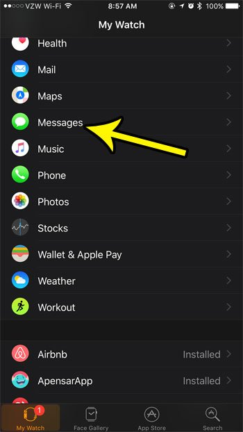 select the messages settings