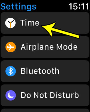 open the apple watch time menu