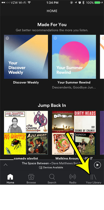spotify your library tab
