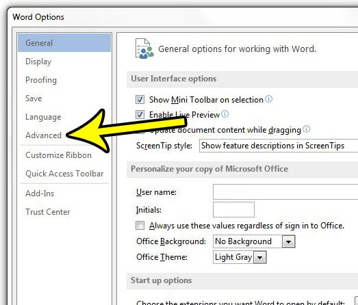 click the advanced tab in word options