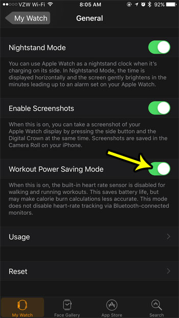 workout power saving mode on apple watch
