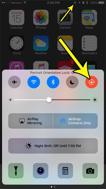 how to stop the iphone 7 screen from rotating