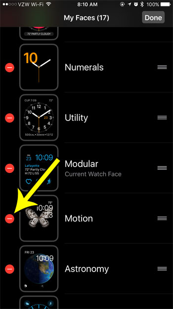 delete watch faces from apple watch