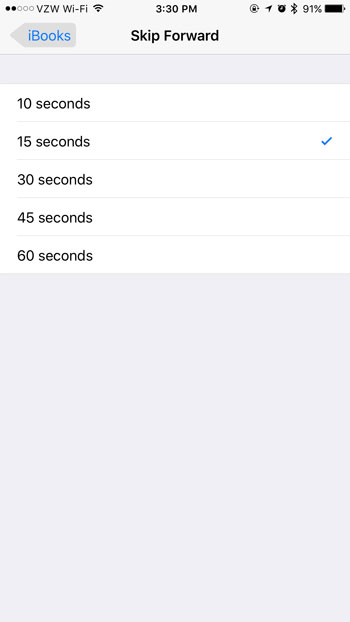 how change audiobook skip duration iphone