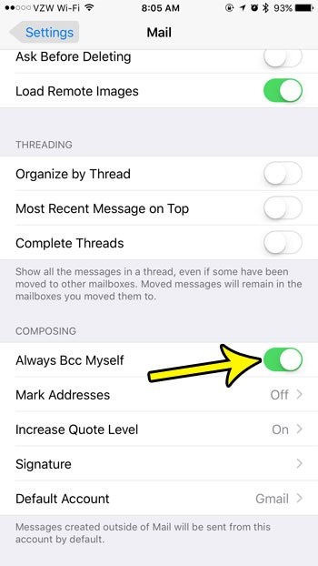 how to always bcc emails on iphone 7