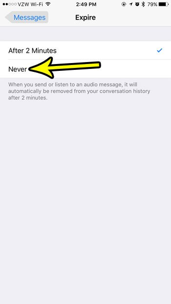 how to stop audio messages from expiring on an iphone 7