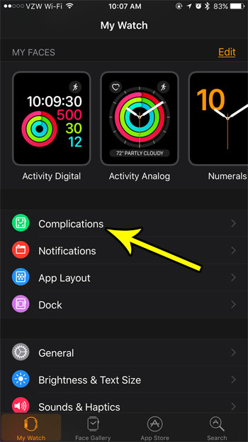 remove apple watch complication