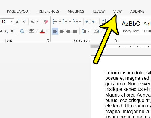 how to open the view menu in word 2013