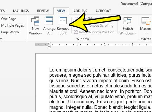 how to exit split view in word 2013