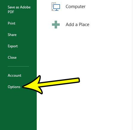 open the excel options menu