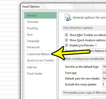 excel 2013 customize ribbon