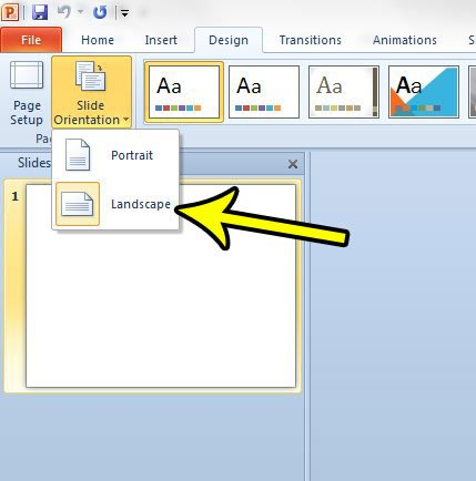 how to use portrait orientation in powerpoint 2010