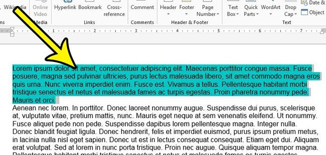 select text in word 2013