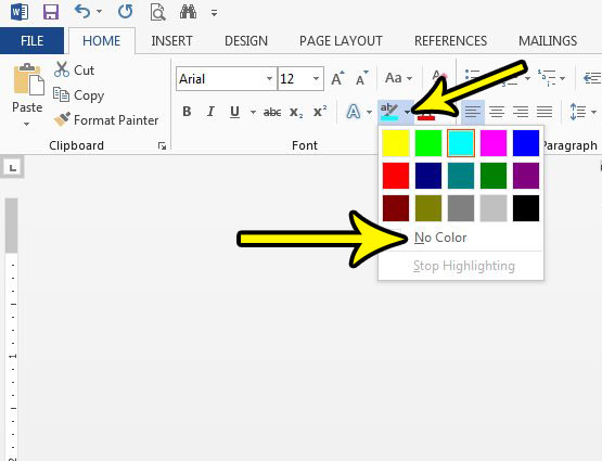 how to remove text highlighting in word 2013