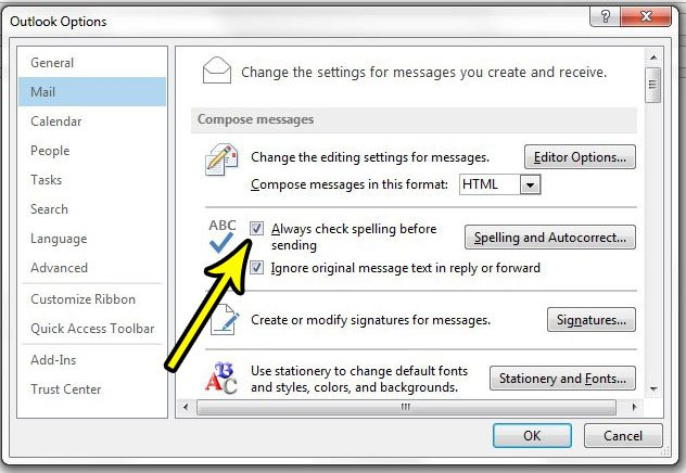 how to spell check in outlook 2013
