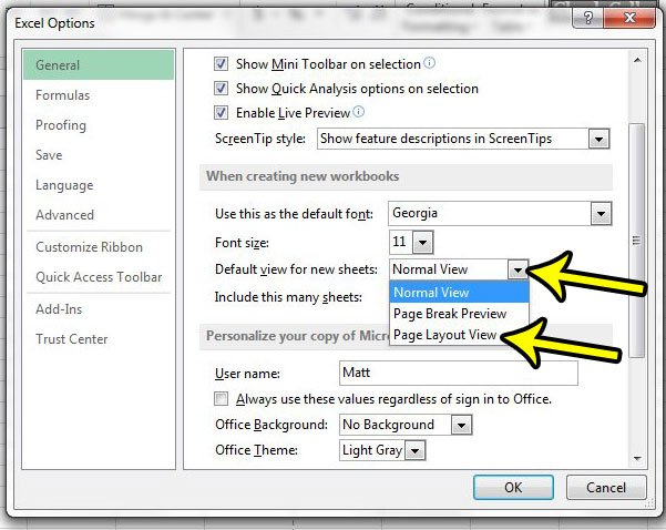 how to use page layout view as default in excel 2013