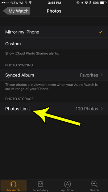 apple watch photos limit