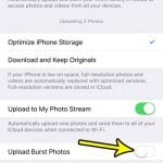how to disable burst photo upload on an iphone 7