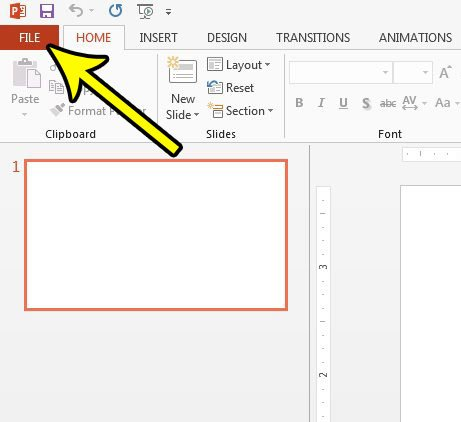 open powerpoint 2013 file menu