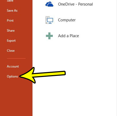 open powerpoint options