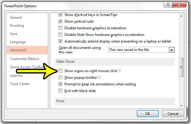 how to disable the right click menu in powerpoint 2013