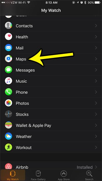 apple watch maps settings