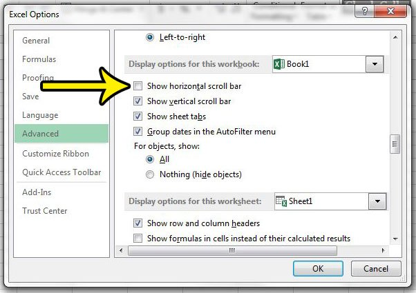 how to hide the horizontal scroll bar in excel 2013