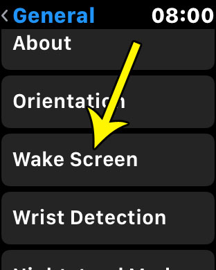 select the wake screen option