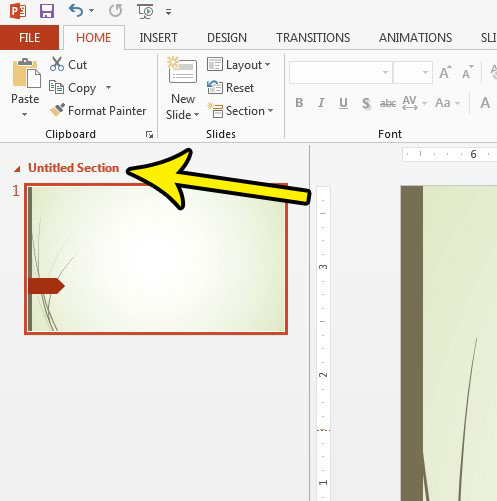 powerpoint 2013 section name
