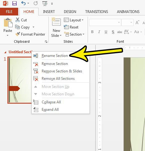 how to change a section name in powerpoint 2013