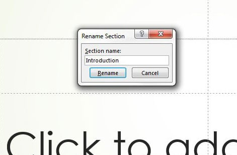 how to rename a section in powerpoint 2013
